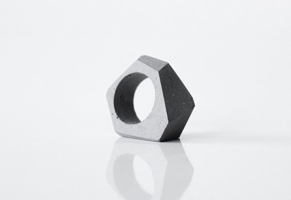 Concrete ring; Minimal and Modern concrete jewelry by ORTOGONALE