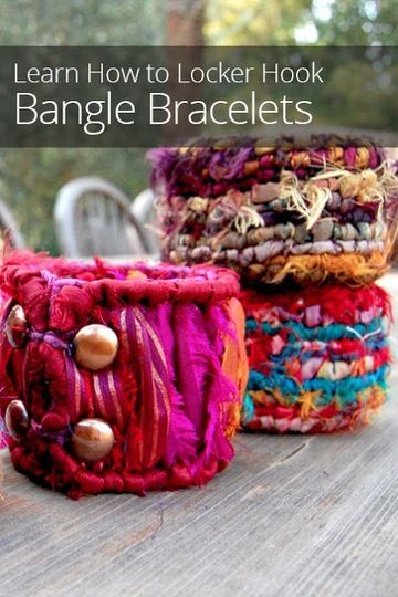 Looking for a new jewelry making technique? Learn how to locker hook beautiful handmade bracelets out of yarn, ribbon, recycled silk, and fabric.