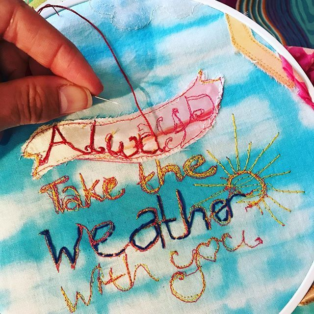Wip - handsewing. #embroidery #textileillustration #sewfun #motivationalquotes