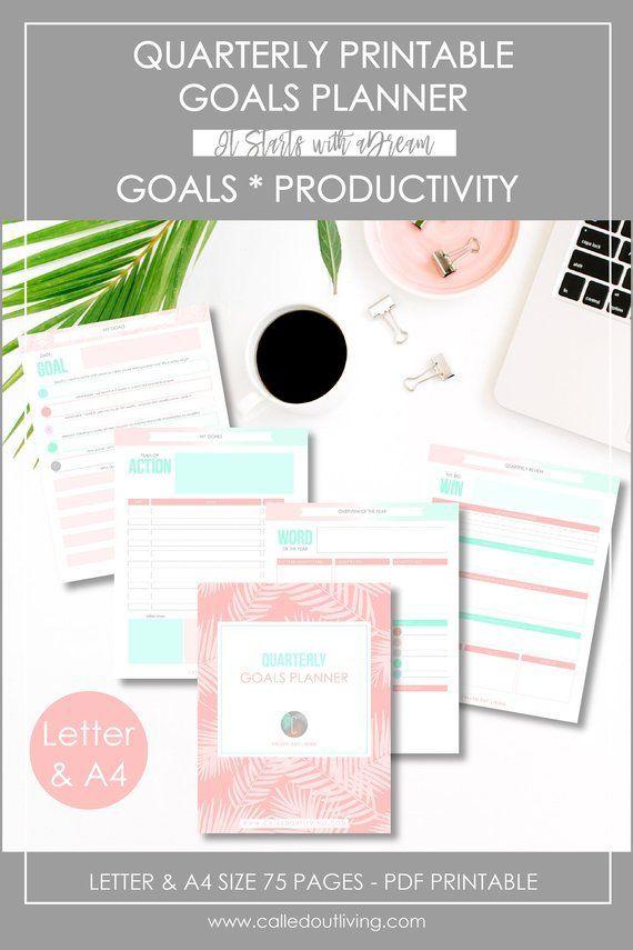 quarterly planner 90 day planners goal setting planner printable