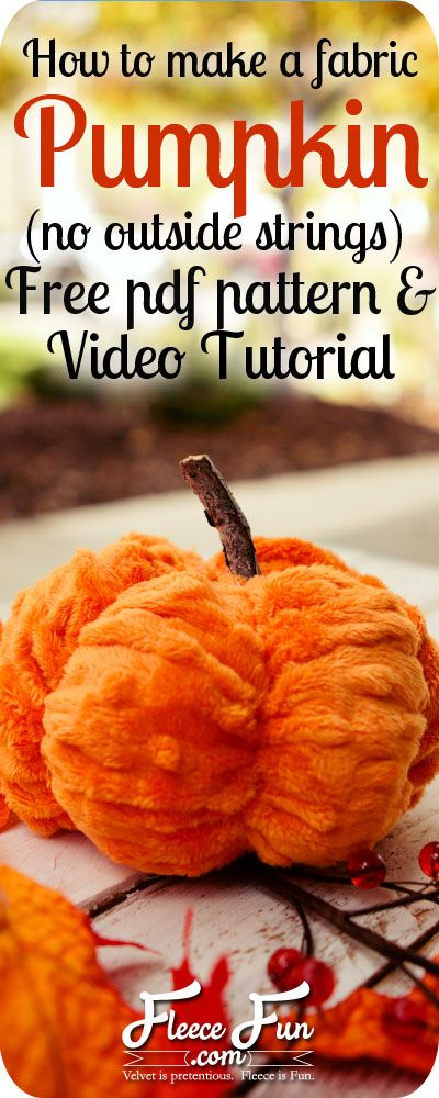 How to make a fabric pumpkin tutorial on www.fleecefun.com.  You can sew this adorable decor quickly.