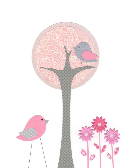 Items similar to Nursery Art, Kids Wall Art, Baby Girl, Pink and Gray Nursery, Bird, Tree, Flowers, Pink, Gray, 8x10 Print on Etsy