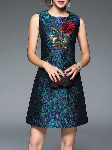 Blue Elegant Floral Sequins Embossed Mini Dress