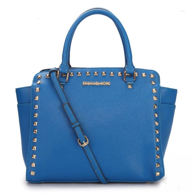 MICHAEL Michael Kors Large Selma Studded Saffiano Tote in Blue