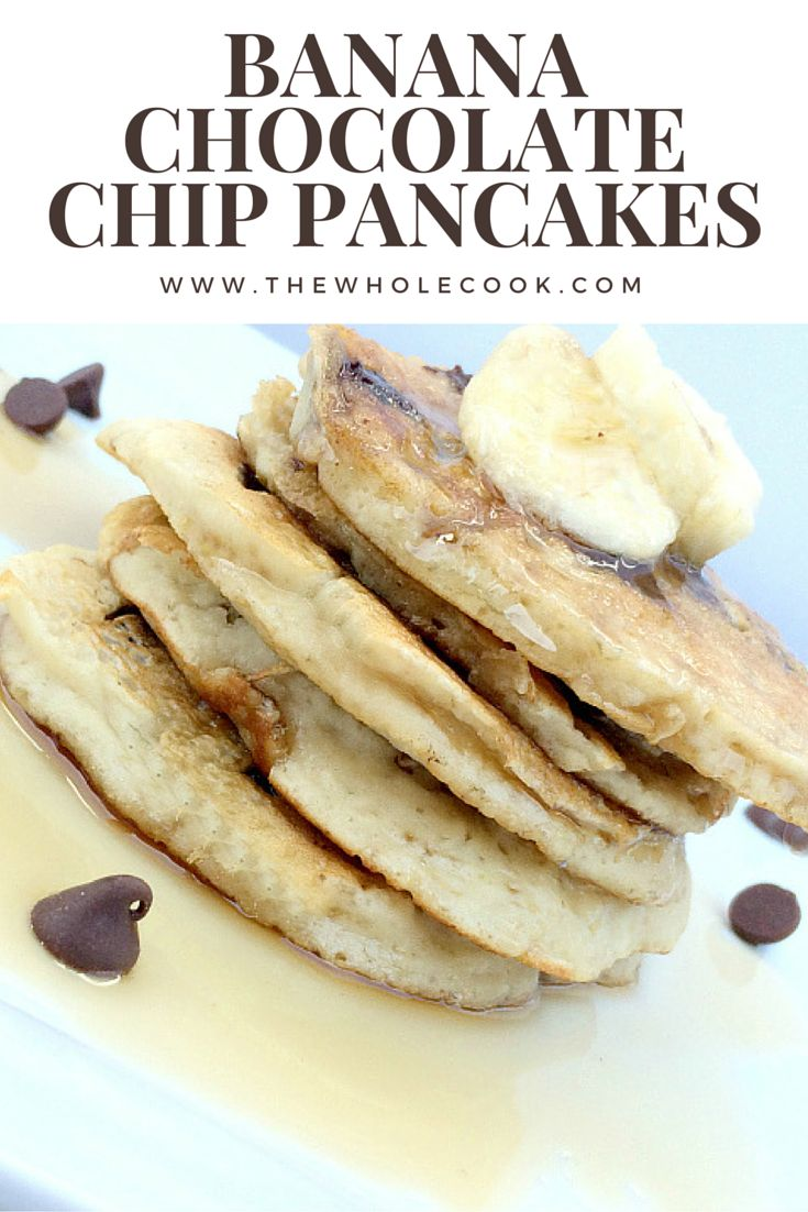 Banana Chocolate Chip Pancakes: So fluffy, just the right amount of sweetness, & only 8 ingredients!