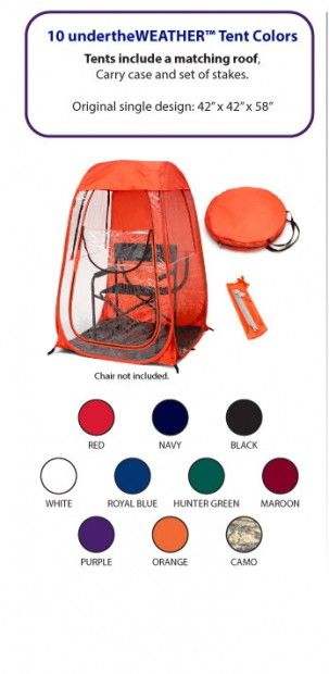 Under the weather pop-up tents! These are hilarious,  but how handy for those early cold soccer games watching your little one, cold tailgates, to the beach. ..even comes with xl to hold 2 chairs inside.