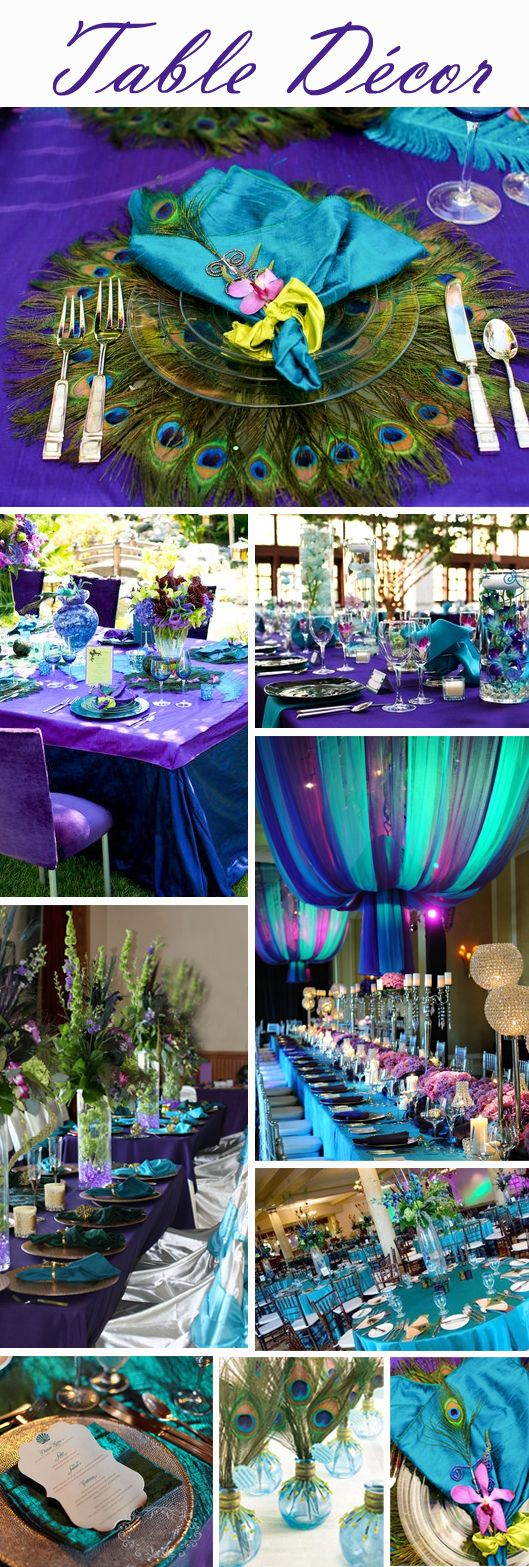 A tablescape in peacock colors is sure to bring ooohs and aaahs!