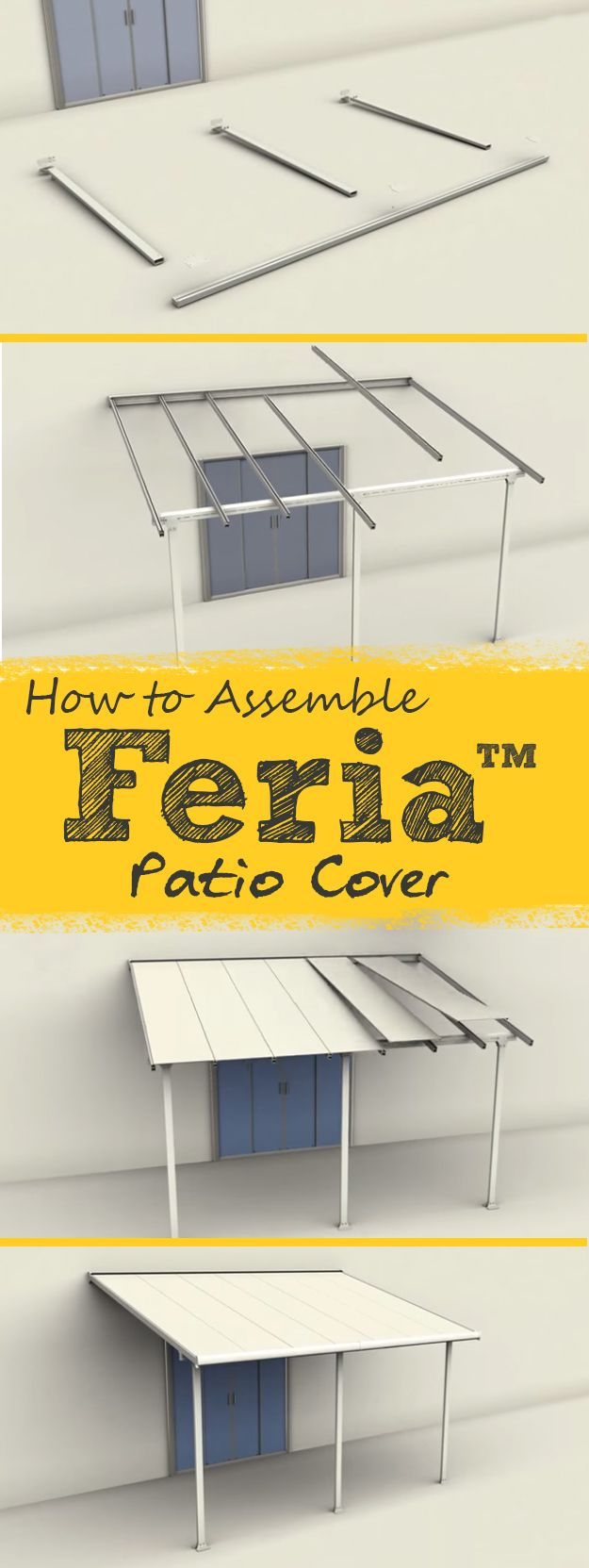 Palram Feria™ Patio Cover is a self-assembly kit that allows you to enjoy the outdoors year-round. Here is a video tutorial of the Feria™ assembly.