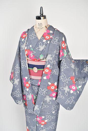 杢ブルーグレーにピンクとグリーンの花美しいウールアンサンブル - アンティーク着物・リサイクル着物のオンラインショップ 姉妹屋
