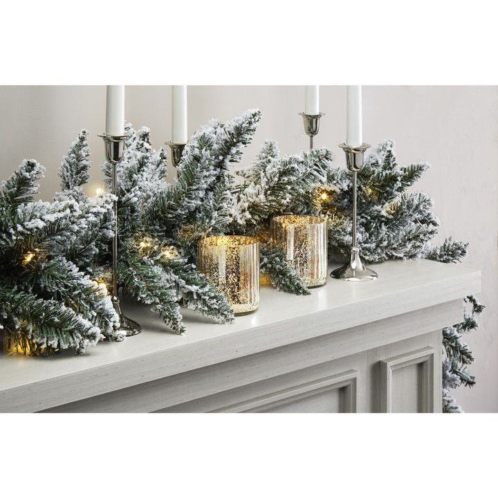 telluride frosted faux pine garland 9 ft