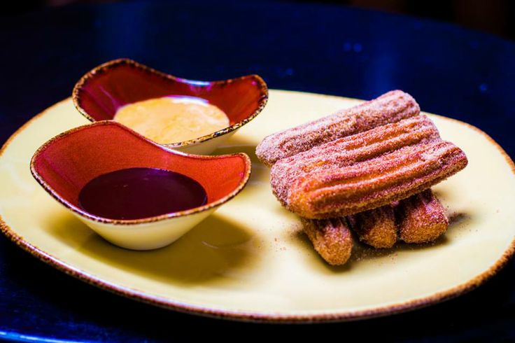 ... churros. With mayan chocolate dipping sauce and dulce de leche dipping