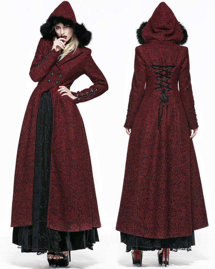 Queen Of Hearts Long Coat Jacket Womens Red Hooded Vintage: Amazon.co.uk: Clothing