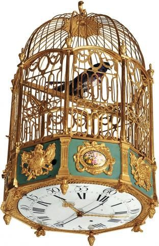 Singing Bird Jaquet Droz, Genève. Made circa 1780. Very fine and very rare, gilt bronze and painted on enamel, eight-day going, center seconds, hanging bird cage clock with automaton bird, singing seven tunes on the hour and half-hour or at will.