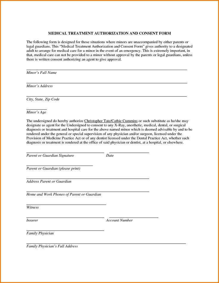 letter medical treatment authorization form minor records template release