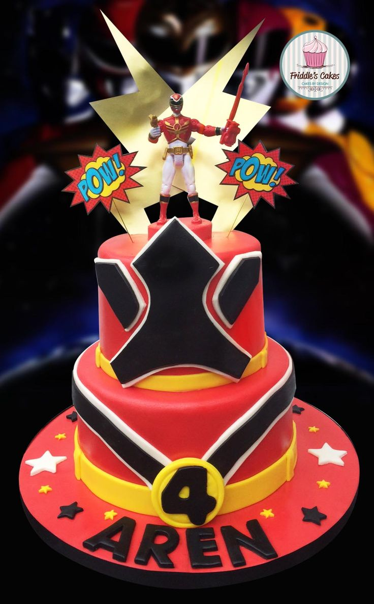 2 tired vanilla sponge red power ranger cake