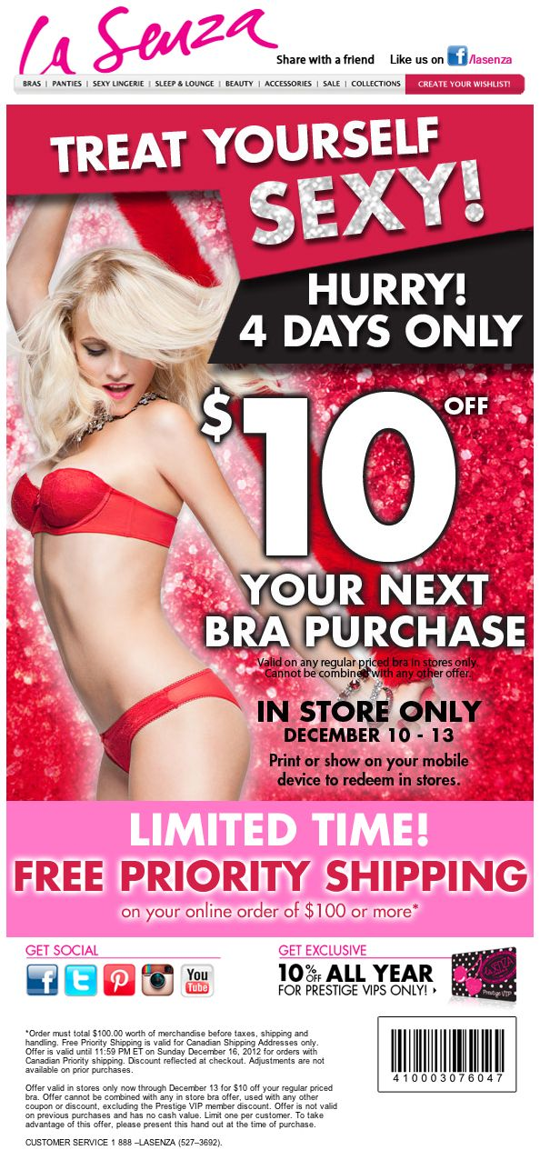 La Senza: $10 off Printable Coupon - ALL LINGERIE IS NOW ON SALE FOR $17 Now Only @ http://treasuresfashion.highwire.com/products/lingerie. Invite your friends to this open Facebook event and share the love now!