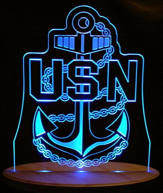 Usn Us Navy Anchor Logo Trophy Acrylic Edge Lit By
