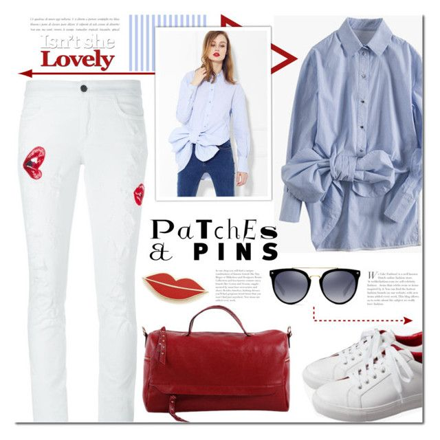 Patch It, Pin It, Perfect! by mada-malureanu on Polyvore featuring Giamba, Georgia Perry, bow, jeans, shirt, redbag and patchesandpins