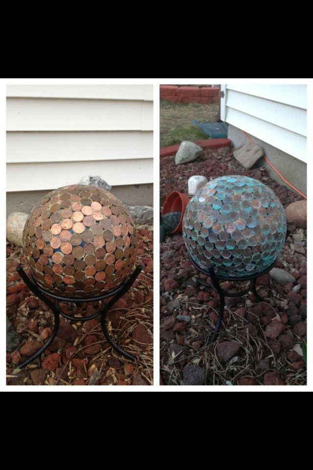 Pennies auf einer Bowlingkugel, Ball anstarrend. Ich musste es einfach versuchen! Liebe es!   - Garden globe  #frisur #frisuren #Frisur hochzeitsgast