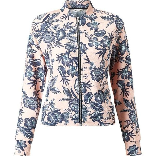 Miss Selfridge Floral Print Bomber ($57) ❤ liked on Polyvore featuring outerwear, jackets, nude, floral bomber jackets, flower print jacket, bomber jackets, floral print jackets and flower print bomber jacket