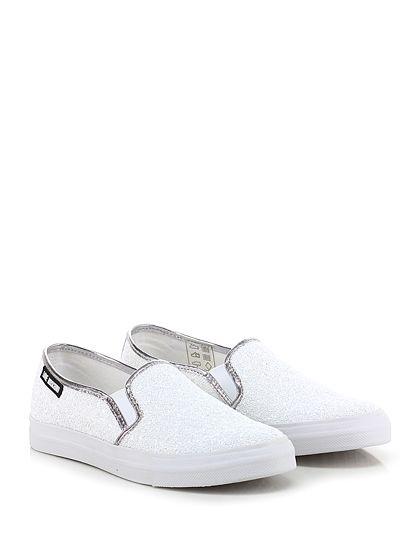 LOVE MOSCHINO - Sneakers - Donna - Sneaker in glitter con inserti elasticizzati su ambo i lati ed inserto laminato su retro. Suola in gomma, tacco 25. - BIANCO - € 135.00