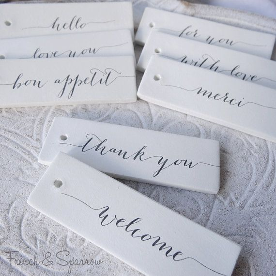 New Design - Custom Personalised Word Rectangle Clay Tags - Gift Tags. Wedding Favours, Bonbonniers