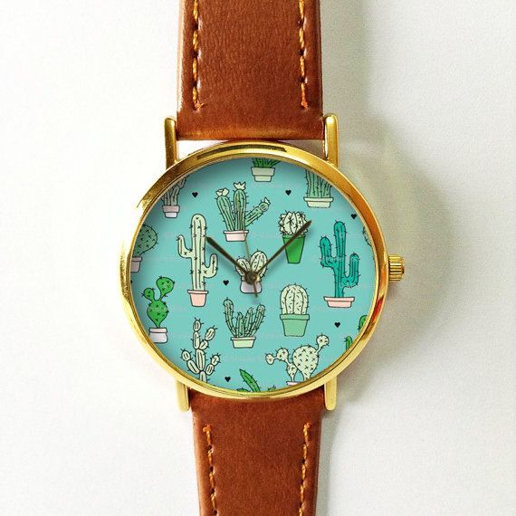 Succulent Cactus Plant Collection Watch 4, Vintage Style Leather Watch, Women Watches, Boyfriend Watch, Men's watch, Green