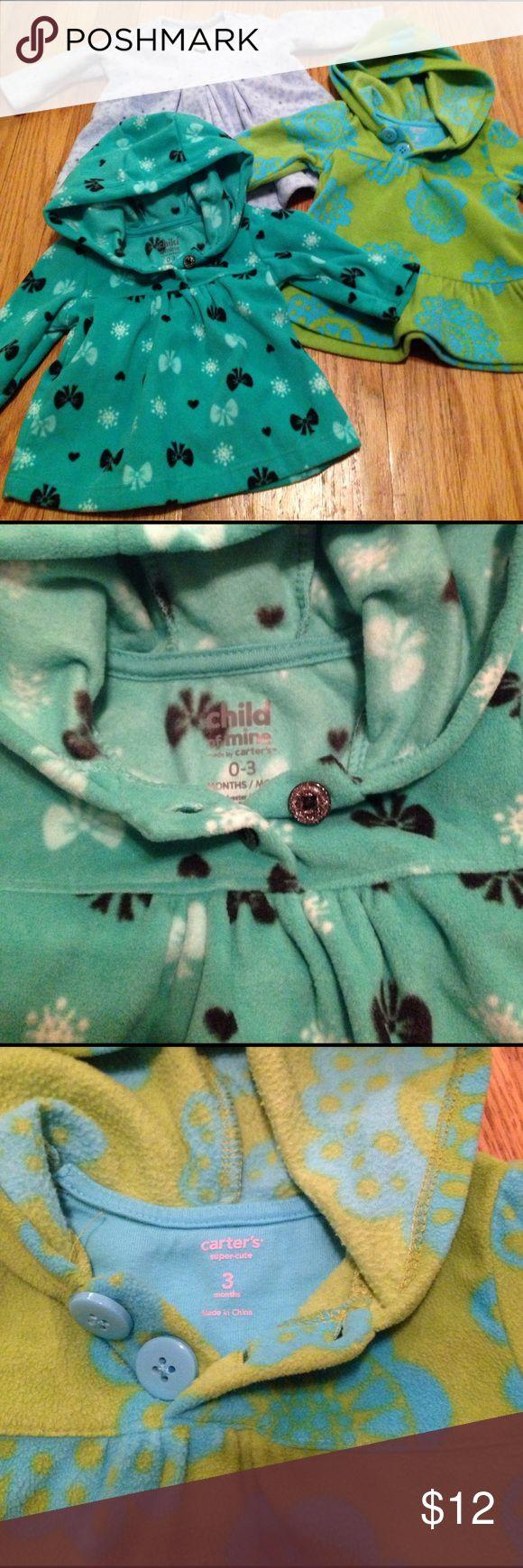 Girls 3 months fleece pull overs 3 girls fleece pullovers. 3 months. 2- carters 1- child of mine carters  Shirts & Tops Sweatshirts & Hoodies