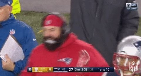 New party member! Tags: nfl yeah new england patriots patriots coach fist pump hell yeah ne patriots matt patricia