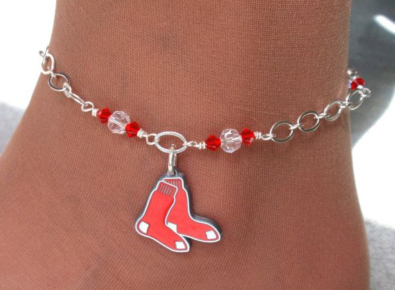Boston Red Sox Inspired Sox It To Me Anklet by scbeachbling, $24.00