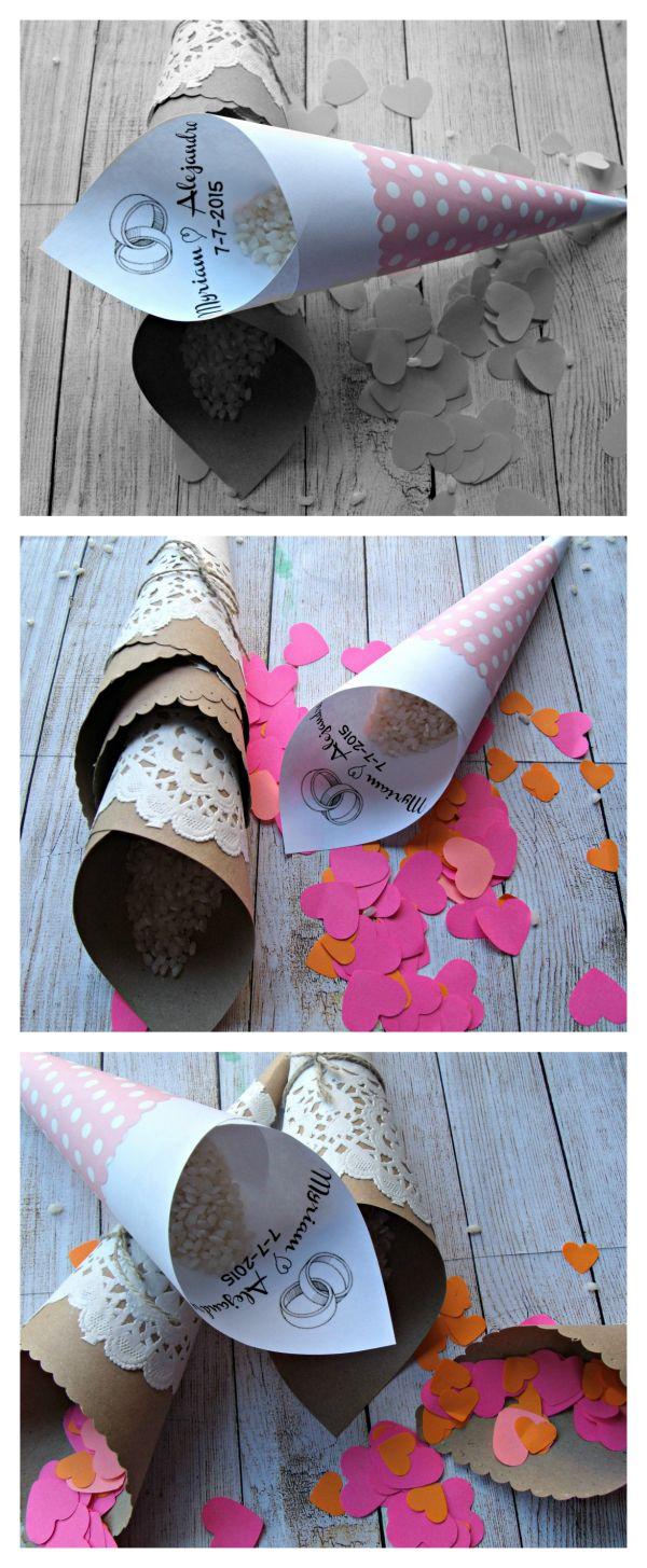 Conos de papel para bodas. Wedding paper cones