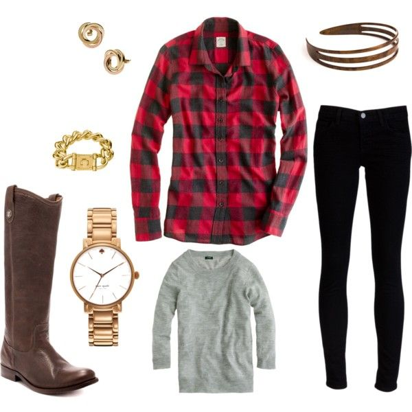 """Plaid & Jeans"" by just-one-girl on PolyvoreA Mini-Saia Jeans, Perfect Uniforms Start, Soft Sweaters, Bronze Bracelets, Brown Boots, Buffalo Plaid"