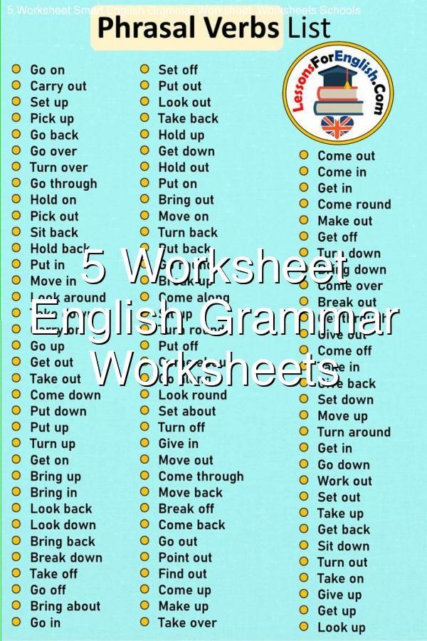 5 Worksheet Smart English Grammar Worksheet Worksheets Schools English  Grammar Worksheets, Grammar Worksheets, English Grammar