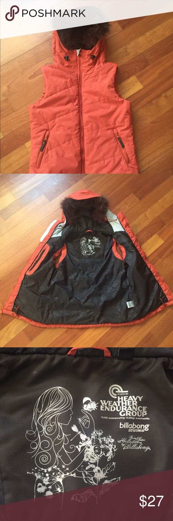 "Billabong Kitty vest - snowboarding, size M/L Like new orange Billabong Kitty vest from  ""Heavy Weather Endurance Group Winter Solstice Collection"". Waterproof. Hooded. Removable faux fur hood liner. Size L, fits more like a M. Never worn. Billabong Jackets & Coats Vests"