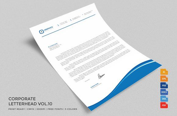 Corporate Letterhead 10 with MS Word by nazdrag on @creativemarket