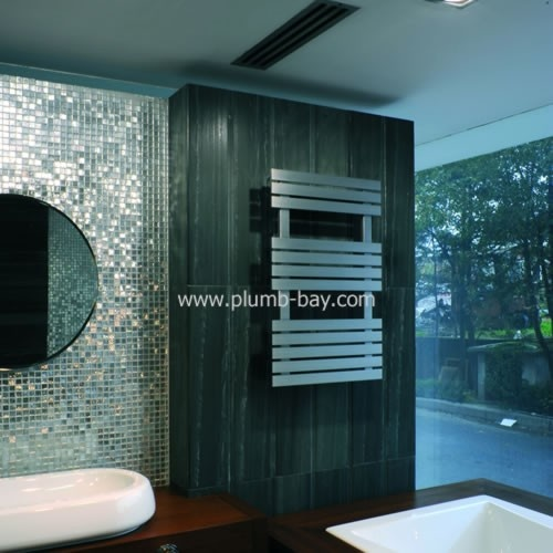 detroit 500mm x 790mm brushed stainless steel heated towel rail 37033 http - Designer Heated Towel Rails For Bathrooms
