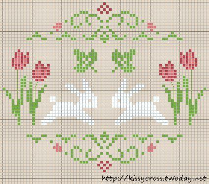 X-stitch, #tulip #bunny #rabbit #cross stitch