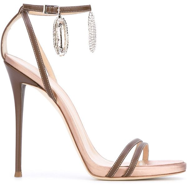 Giuseppe Zanotti Design ankle charm sandals ($895) ❤ liked on Polyvore featuring shoes, sandals, heels, brown, ankle strap sandals, metallic sandals, leather sandals, brown heeled sandals and strappy heeled sandals