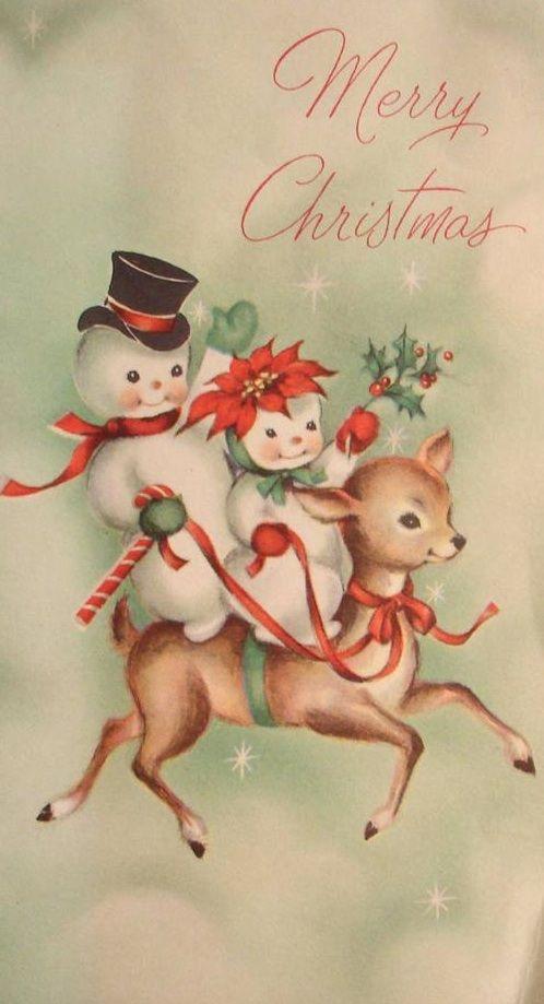 Vintage Christmas card. #snowman #reindeer