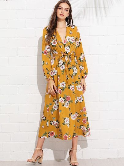 9b657bc09a3c6 Shop Lantern Sleeve Surplice Wrap Floral Dress online. SheIn offers ...