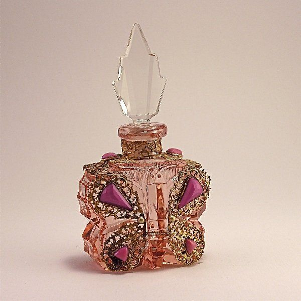 Vintage 1930s Jeweled Czech Perfume Bottle in pink crystal as a butterfly with clear stopper, jeweled gilt metalwork