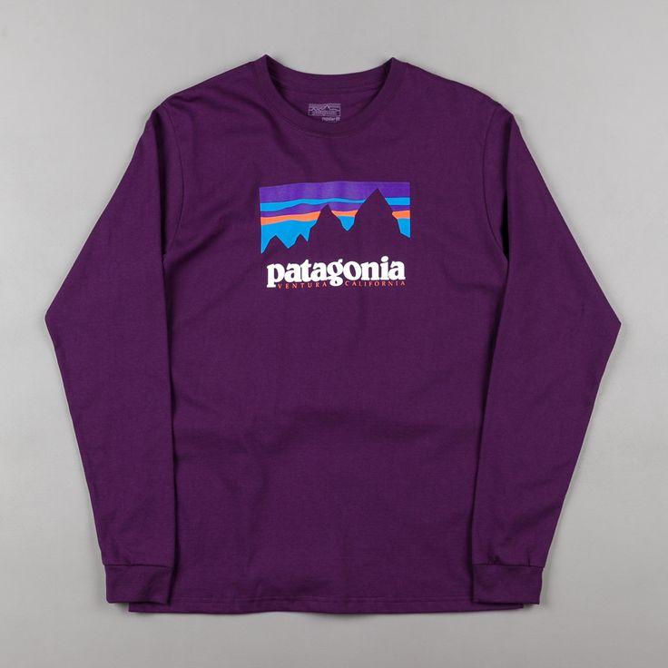 Patagonia Shop Sticker Long Sleeve T-Shirt - Panther Purple