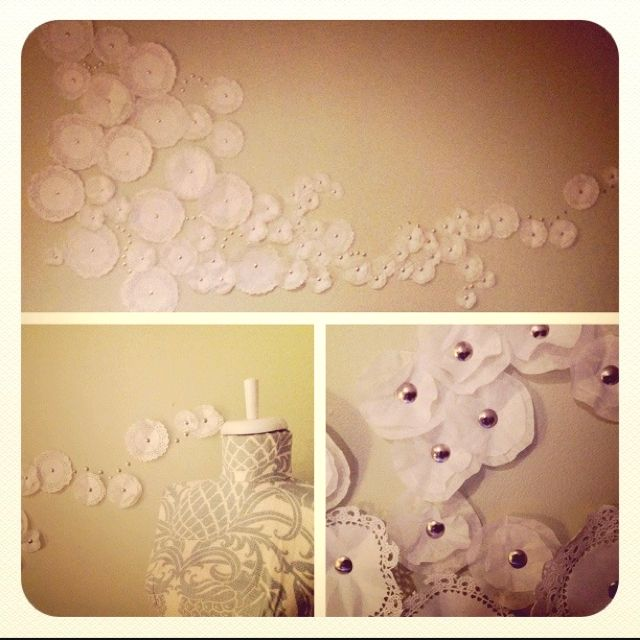 Coffee filters and push pins, diy wall art!- might be cute modified - NOT on the wall though! More like in a thumbtack for a bulletin board
