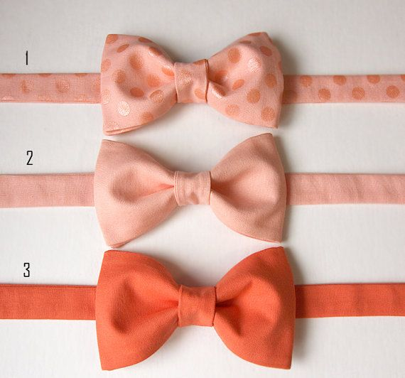 Mix and Match Groomsmen Bow Ties - Peach, Coral, Nectarine, Salmon Bow Ties are available for individual purchase, or a beautiful dreamy wedding set.  Custom bow ties. Perfect for Peach / Coral Weddings, as groomsmen gifts.  Can be made as self-tie (freestyle), or pre-tied.
