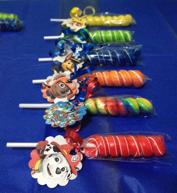 24 Paw Patrol Party Favor Lollipops by GlitterVixenDesigns on Etsy