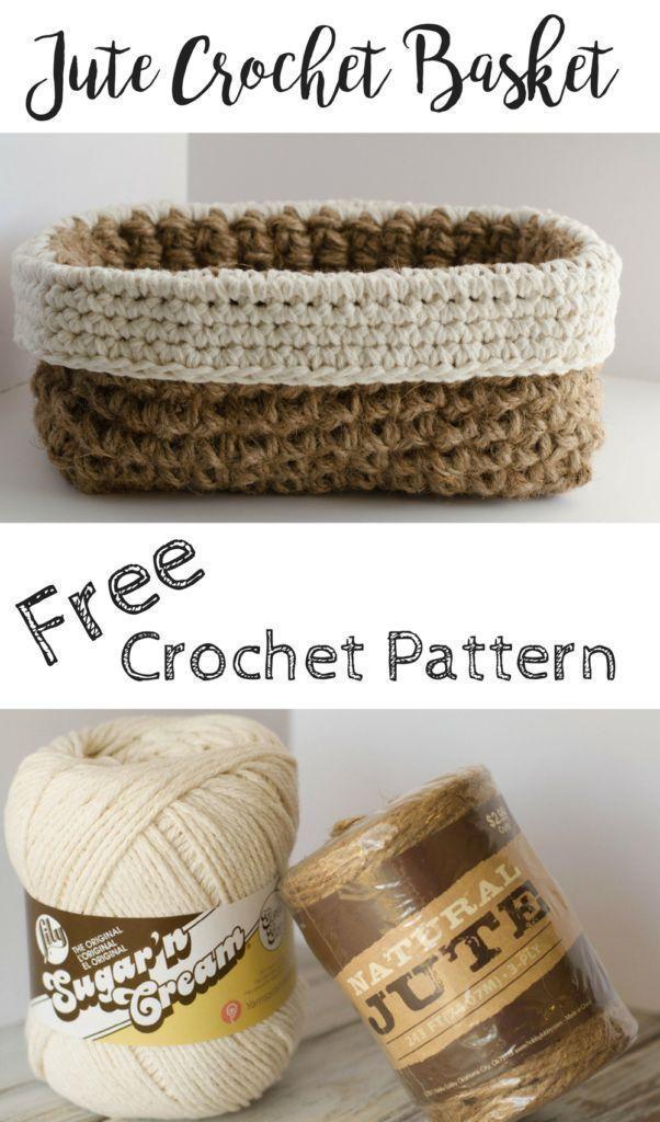 Klicke um das Bild zu sehen. Crochet Jute Basket Pattern – #Basket #crochet #ju…