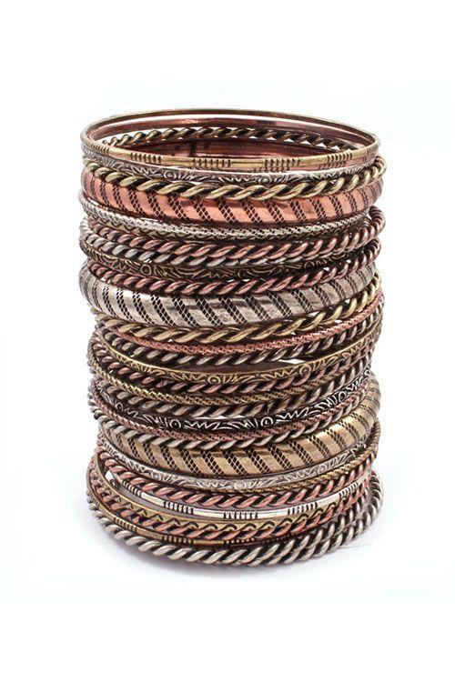 30 Piece Tri-Tone Nori Bracelet Set