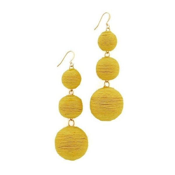 Kenneth Jay Lane Triple Tier Drop Earrings (£71) ❤ liked on Polyvore featuring jewelry, earrings, accessories, yellow, colorful jewelry, colorful earrings, multicolor jewelry, french hook earrings and tri color earrings