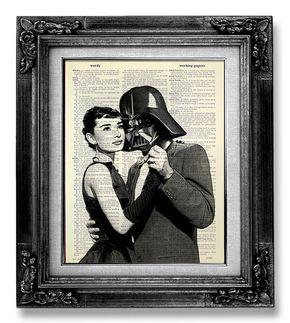 Darth Vader Star Wars arte impresión, AUDREY HEPBURN Poster, impresión de Star Wars en el papel de diccionario, arte del cartel Hollywood - película imposible