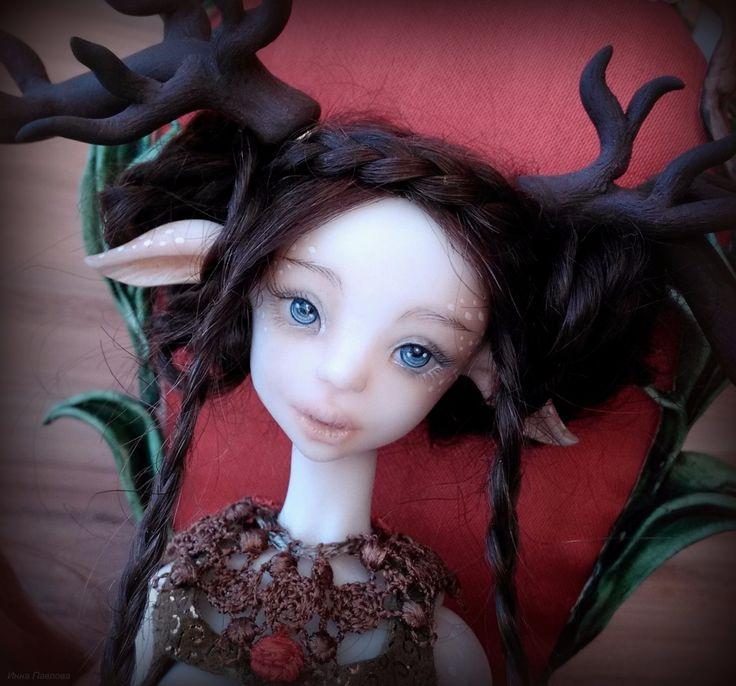 Оленерожка на троне с оленями / Авторские куклы (ООАК) / Шопик. Продать купить куклу / Бэйбики. Куклы фото. Одежда для кукол